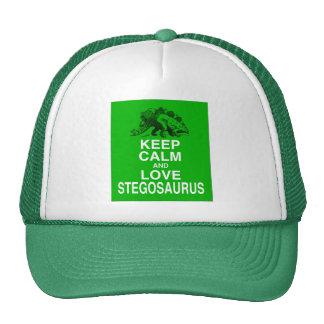 Keep Calm and Love Stegosaurus dinosaur design Mesh Hats