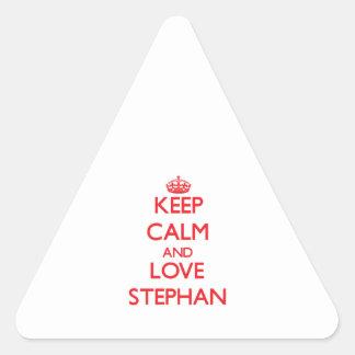 Keep Calm and Love Stephan Triangle Stickers