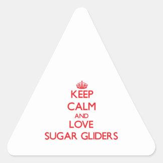 Keep calm and love Sugar Gliders Triangle Sticker
