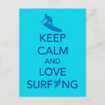 Keep Calm and Love Surfing gift selections Postcard