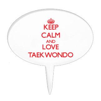 Keep calm and love Taekwondo Cake Pick