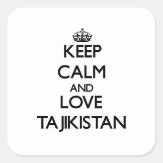 Keep Calm and Love Tajikistan Square Sticker