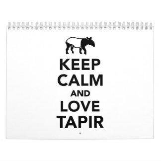 Keep calm and love tapir calendar
