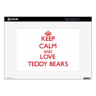Keep calm and love Teddy Bears Large Netbook Skins