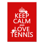 Keep Calm and Love Tennis (customize color) Card
