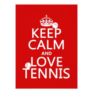 Keep Calm and Love Tennis (customize color) Custom Announcements