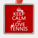 Keep Calm and Love Tennis (customize color) Christmas Tree Ornament
