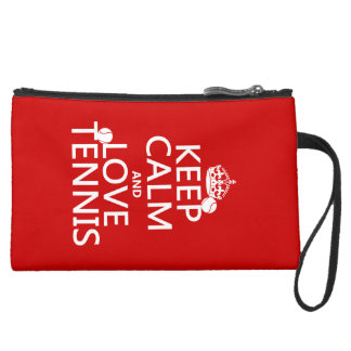Keep Calm and Love Tennis Suede Wristlet Wallet