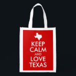 "Keep Calm and Love Texas Red Reusable Grocery Bag<br><div class=""desc"">Customizable &quot;Keep Calm and Love Texas&quot; text design with a white map shape of the state of TX.</div>"