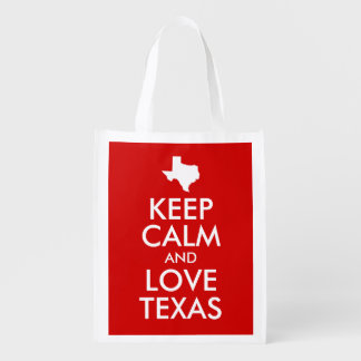 Keep Calm and Love Texas Red Reusable Grocery Bag