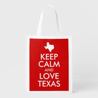 Keep Calm and Love Texas Red Reusable Grocery Bag