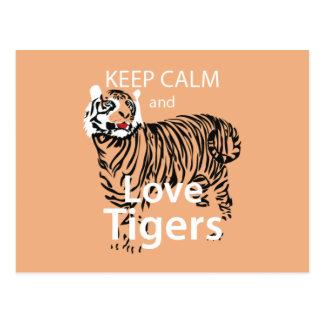 Keep Calm and Love Tigers Postcard