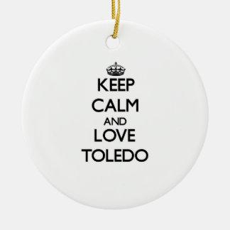 Keep Calm and love Toledo Christmas Tree Ornaments
