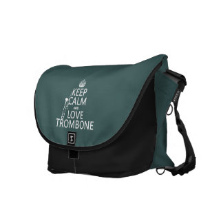 Keep Calm and Love Trombone (any background color) Messenger Bags