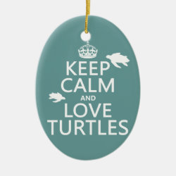 Oval Ornament with Keep Calm and Love Turtles design