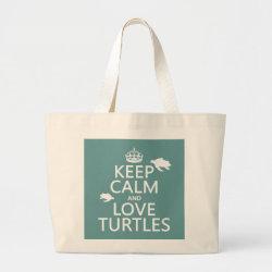 Jumbo Tote Bag with Keep Calm and Love Turtles design