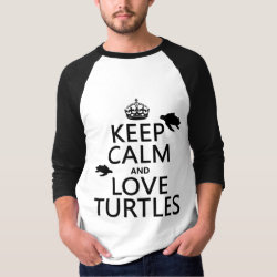 Men's Basic 3/4 Sleeve Raglan T-Shirt with Keep Calm and Love Turtles design