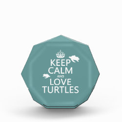 Small Acrylic Octagon Award with Keep Calm and Love Turtles design