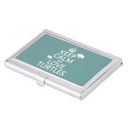 Business Card Holder with Keep Calm and Love Turtles design