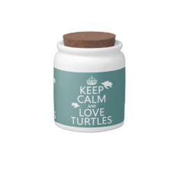 Candy Jar with Keep Calm and Love Turtles design