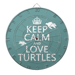 Megal Cage Dart Board with Keep Calm and Love Turtles design