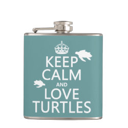 Vinyl Wrapped Flask, 6 oz. with Keep Calm and Love Turtles design