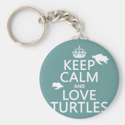 Basic Button Keychain with Keep Calm and Love Turtles design
