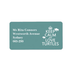 Address Label with Keep Calm and Love Turtles design