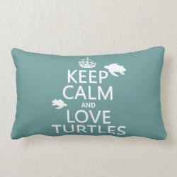 Throw Pillow Lumbar 13' x 21' with Keep Calm and Love Turtles design