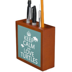 Desk Organizer with Keep Calm and Love Turtles design