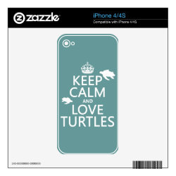 iPhone 4/4S Skin with Keep Calm and Love Turtles design