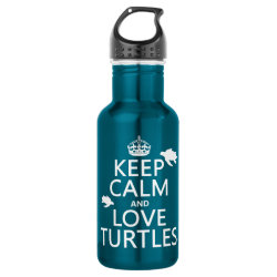 Water Bottle (24 oz) with Keep Calm and Love Turtles design