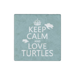 Marble Magnet with Keep Calm and Love Turtles design