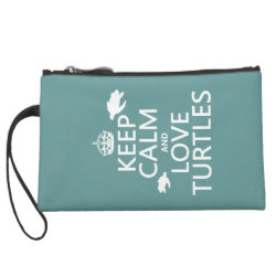 Sueded Mini Clutch with Keep Calm and Love Turtles design