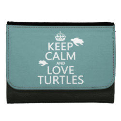 Medium Faux Leather Wallet with Keep Calm and Love Turtles design