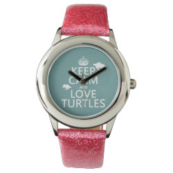 Kid's Pink Glitter Strap Watch with Keep Calm and Love Turtles design