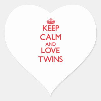 Keep calm and love Twins Heart Sticker
