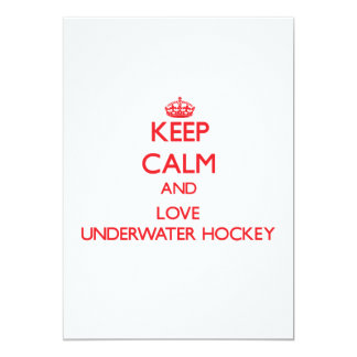 Keep calm and love Underwater Hockey 5x7 Paper Invitation Card