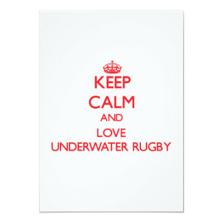Keep calm and love Underwater Rugby 5x7 Paper Invitation Card