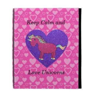 Keep calm and love unicorns iPad folio cover