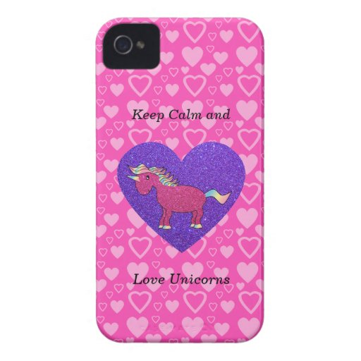 Keep calm and love unicorns iPhone 4 Case-Mate cases