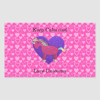 Keep calm and love unicorns rectangular sticker