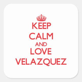 Keep calm and love Velazquez Square Sticker
