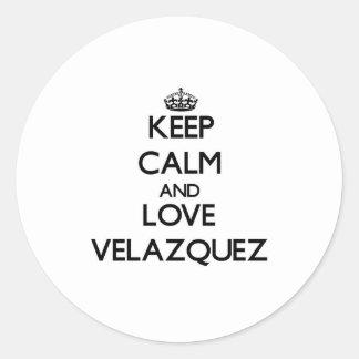 Keep calm and love Velazquez Round Sticker