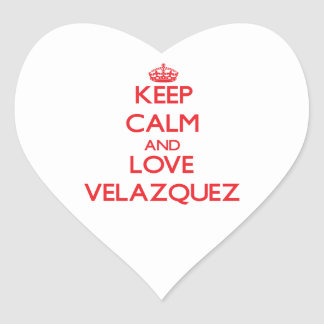 Keep calm and love Velazquez Heart Stickers