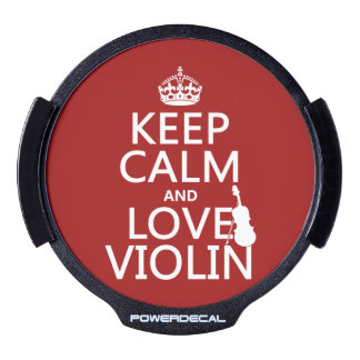 Keep Calm and Love Violin (any background color) LED Car Window Decal