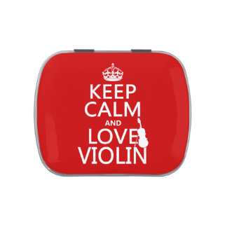 Keep Calm and Love Violin (any background color) Jelly Belly Tins