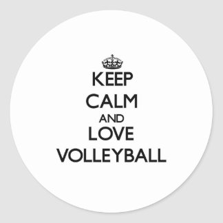 Keep calm and love Volleyball Classic Round Sticker