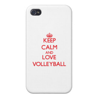 Keep calm and love Volleyball Cover For iPhone 4