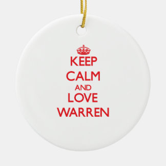 Keep Calm and Love Warren Double-Sided Ceramic Round Christmas Ornament